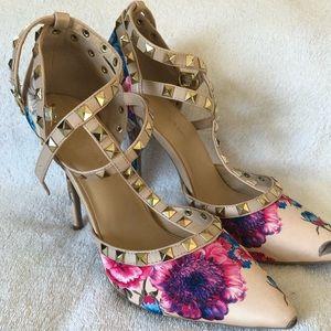 Designer inspired Floral strapped heels